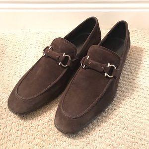 Ferragamo Brown Suede Dress Shoes